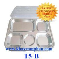 Khay cơm inox 5 ngăn nhỏ có nắp T5-B