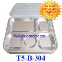Khay cơm inox 5 ngăn 304 size nhỏ T5-B-304