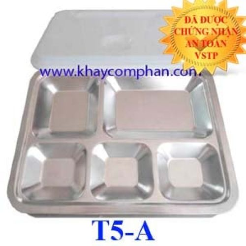 Khay cơm inox 5 ngăn có nắp T5-A