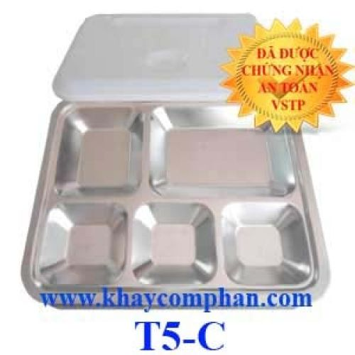 Khay ăn inox 5 ngăn có nắp T5-C