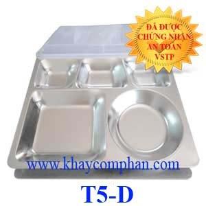 Khay cơm inox công nghiệp 5 ngăn có nắp T5-D