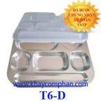 Khay cơm inox 6 ngăn có nắp T6-D