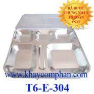 Khay cơm inox có nắp 6 ngăn 304 T6-E