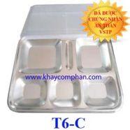 Khay đựng cơm bằng inox 6 ngăn có nắp T6-C