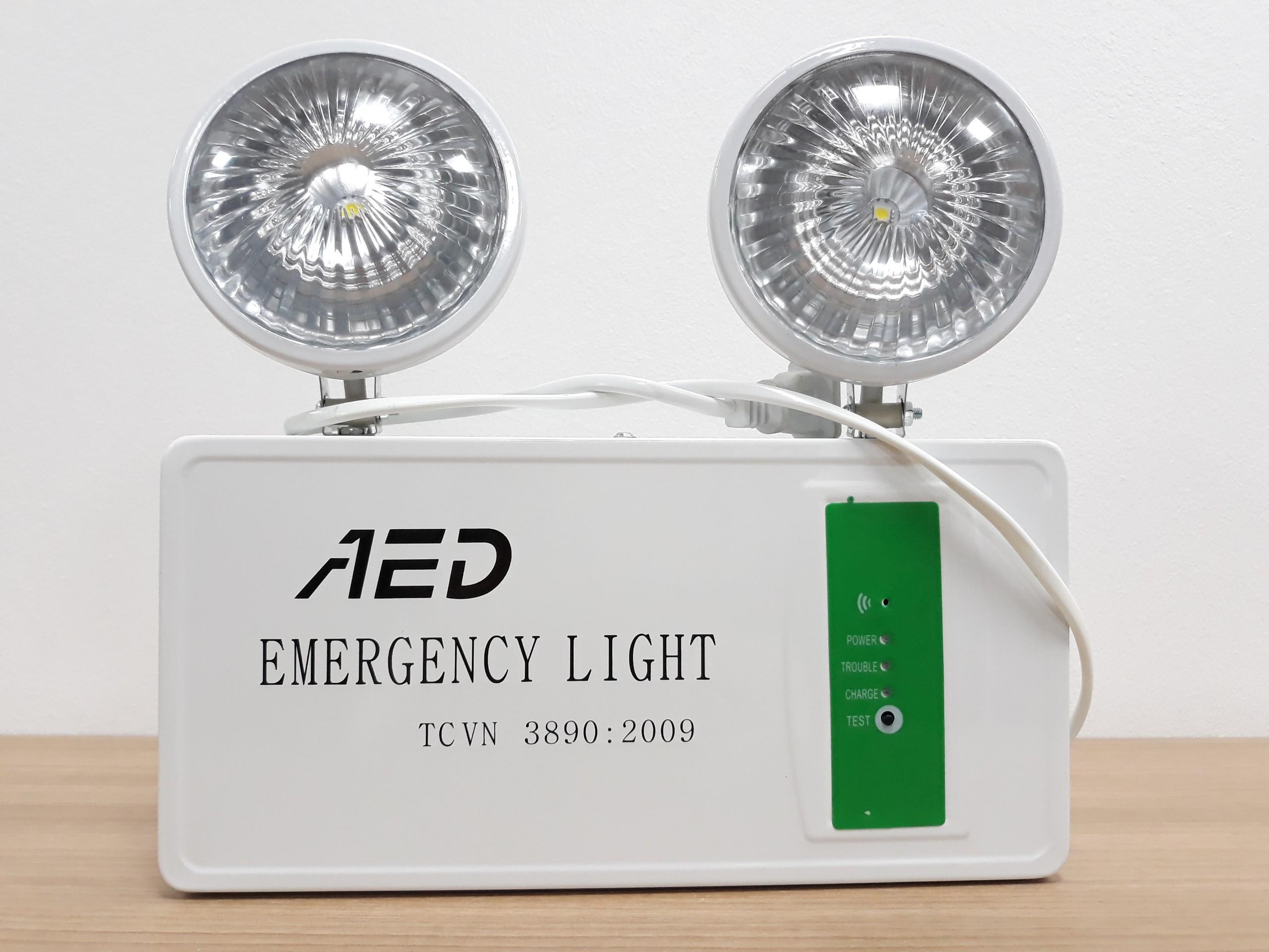 Đèn sự cố AED (3W- thời gian chiếu sáng > 120 phút, có tem kiểm định của Cục CS PCCC&CNCH và Bản sao GKĐ kèm theo)