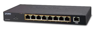 Thiết bị hỗ trợ 8 cổng 10/100 / 1000T 802.1at PoE +1 Cổng Gigabit Desktop Switch - GSD-908HP