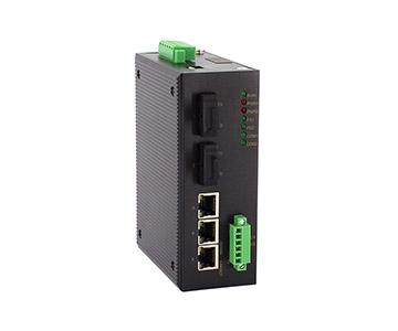 Bộ chuyển mạch Ethernet cấp công nghiệp  hỗ trợ dữ liệu 3 cổng 100M RJ45 + 2 cổng 100M FX + 2 cổng RS232 / 485 / CAN được Quản Lý (IES305-2F-202)