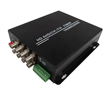 8 channels AHD/CVI/TVI to fiber converter (720P) with 1ch RS485 data