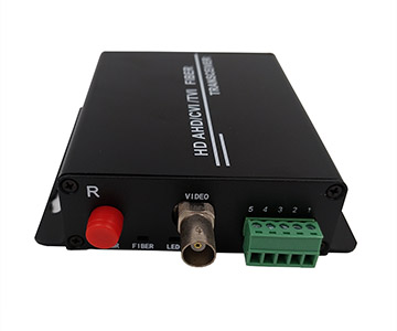 1 channel AHD/CVI/TVI to fiber converter (1080P) with 1ch RS485 data