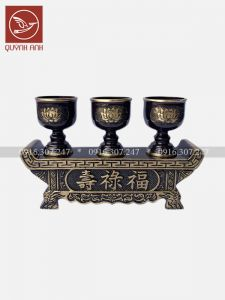 Bộ Khay Đồng 3 Chén - Sơn Màu Giả Cổ