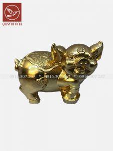 Tượng Lợn Đồng Dát Vàng 24k - Mẫu 1