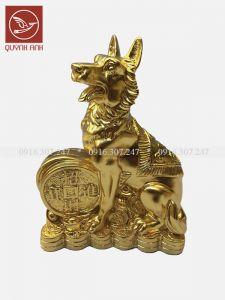 Tượng Chó Đồng Dát Vàng 24k - Mẫu 2
