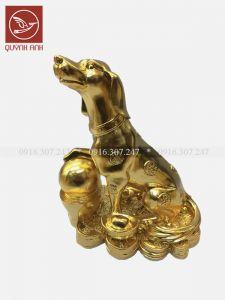 Tượng Chó Đồng Dát Vàng 24k - Mẫu 4