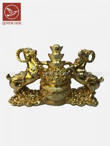 Tượng Dê Đồng Dát Vàng 24k - Mẫu 5