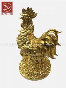 Tượng Gà Đồng Dát Vàng 24k - Mẫu 3
