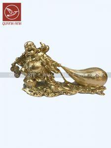 Tượng Phật Di Lạc Kéo Bị - Đồng Vàng