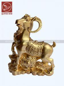 Tượng Dê Đồng Dát Vàng 24k - Mẫu 3