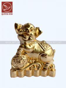 Tượng Lợn Đồng Dát Vàng 24k - Mẫu 2