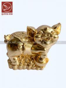 Tượng  Lợn Đồng Dát Vàng 24k - Mẫu 3