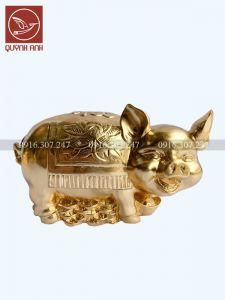 Tượng Lợn Đồng Dát Vàng 24k - Mẫu 6