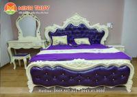Giường ngủ tân cổ điển da cao cấp (GN-01)