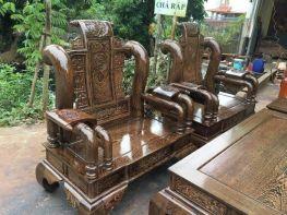 Bàn ghế Tần Thủy Hoàng mun đuôi công (BG-06)