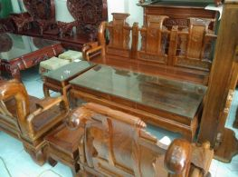 Bàn ghế phòng khách - Tần thủy hoàng Gỗ Hương vân tay 12