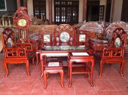 Bàn ghế Móc Mỏ Mặt Đá gỗ Gụ (BG-13)