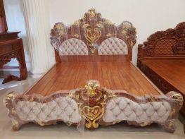 Giường ngủ cao cấp gỗ gõ đỏ dát vàng (GD-01)