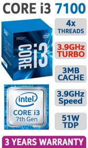 CPU Intel Core i3-7100 3.9 GHz / 3MB / 4 Cores, 4 Threads / Socket 1151 (Kabylake)