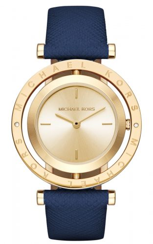 AVERI GOLD-TONE AND NAVY LEATHER TWO-HAND WATCH 33MM
