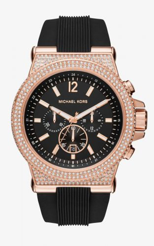 MICHAEL KORS DYLAN BLACK DIAL LADIES CHRONOGRAPH CRYSTAL MK8557, 48MM