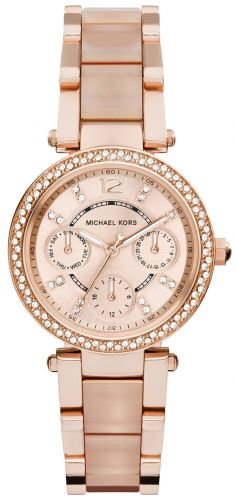 PARKER MINI MULTI-FUNCTION ROSE DIAL ROSE GOLD-TONE AND BLUSH ACETATE LADIES WATCH 33MM