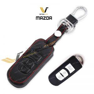 Bao da chìa khóa da đen đỏ theo xe Mazda 3