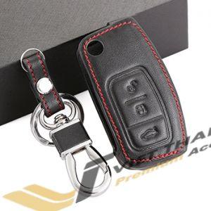Bao da chìa khóa da đen đỏ Ecosport