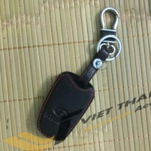 Bao da chìa khóa đen chỉ đỏ Santafe