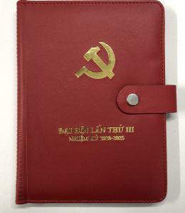 sổ tay đại hội có khuy bấm nam châm màu đỏ