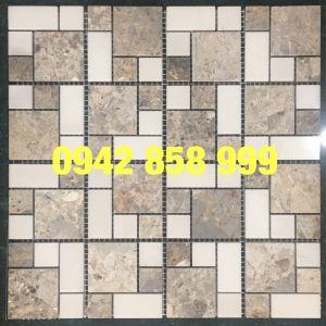 Đá dán 2 màu trắng đen 73x73 - Mosaic 2 màu trắng đen 73x73
