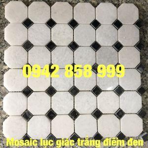 Đá dán lục giác trắng điểm đen 48x48 - Mosaic lục giác Trắng điểm đen