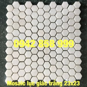 Đá dán lục giác trắng muối 23x23 - Mosaic trắng muối 23x23