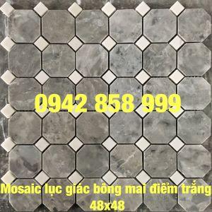 Đá dán lục giác bông mai điểm trắng 48x48 - Mosaic lục giác bông mai điểm trắng
