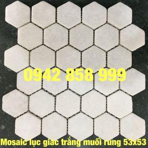 Đá dán lục giác trắng muối 53x53 - Mosaic lục giác trắng muối 53x53