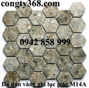 Đá dán lục giác vàng ghi 53x53 - Mosaic lục giác vàng ghi 53x53