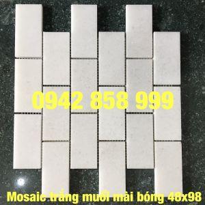 Đá dán trắng muối mài bóng 48x98 - Mosaic trắng muối bóng 48x98
