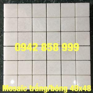 Đá dán trắng muối mài bóng 48x48 - Mosaic trắng muối bóng 48x48
