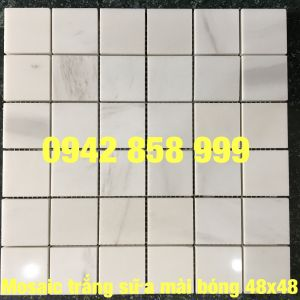 Đá dán trắng sữa mài bóng 48x48 - Mosaic trắng sữa bóng 48x48