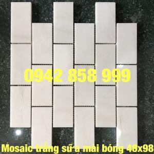 Đá dán trắng sữa mài bóng 48x98 - Mosaic trắng sữa bóng 48x98