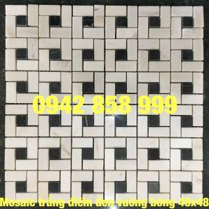 Đá dán trắng điểm đen vuông bóng 48x48 - Mosaic Trắng điểm đen vuông bóng 48x48