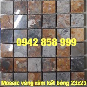 Đá dán vàng râm kết bóng 23x23 - Mosaic Vàng râm kết 23x23