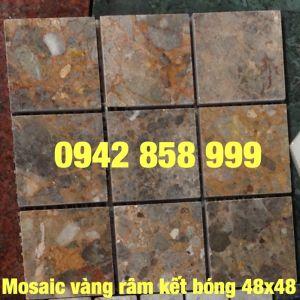 Đá dán vàng râm kết bóng 48x48 - Mosaic Vàng râm kết 48x48